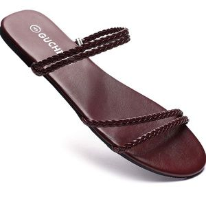 Wine Red  Flat Sandal Braided Straps